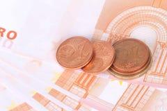 欧洲钞票和硬币货币金钱 库存照片