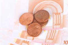欧洲钞票和硬币货币金钱 免版税库存图片