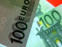 欧洲钞票用不同的角度 免版税库存图片