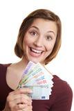 欧洲风扇愉快的货币妇女 图库摄影