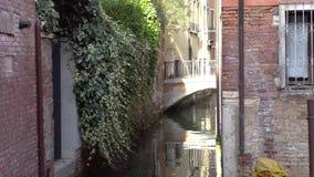 欧洲 意大利 威尼斯 美丽的狭窄的街道和桥梁在运河在威尼斯 股票视频