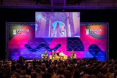 欧洲` s最大的技术会议在里斯本,葡萄牙 库存照片