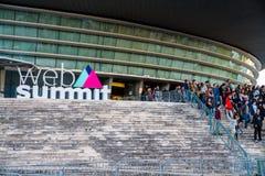 欧洲` s最大的技术会议的一个标志 库存图片
