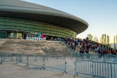 欧洲` s最大的技术会议的一个标志 图库摄影