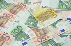 欧洲50 100 200张背景的钞票 免版税库存图片
