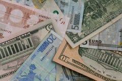 欧洲EUR和美元USD货币 库存图片