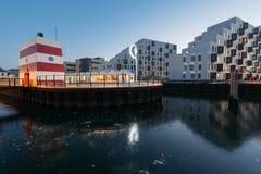 欧登塞室外港口游泳池,丹麦 免版税图库摄影