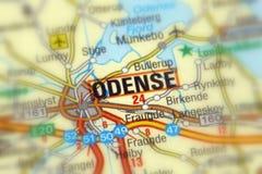 欧登塞,一个城市在丹麦 免版税库存图片