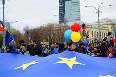60年欧盟周年在布加勒斯特,罗马尼亚 库存照片