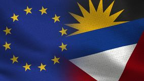 欧盟和一起安提瓜和巴布达现实半旗子 库存例证