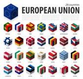欧盟和会员资格 ?? 3D立方体旗子等量顶面设计 ?? 向量例证