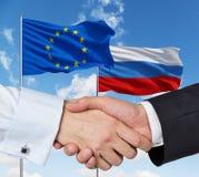 欧盟和俄国协议 库存图片