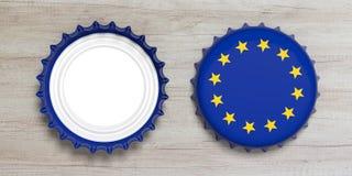 欧盟和啤酒 啤酒盖帽前面和后面看法在木背景隔绝的,顶视图 3d例证 免版税库存照片
