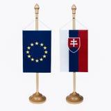 欧盟和斯洛伐克旗子 免版税库存图片