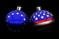 欧盟和美国圣诞节球 免版税库存照片