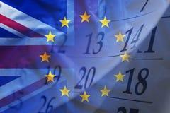 欧盟和英国的旗子 图库摄影