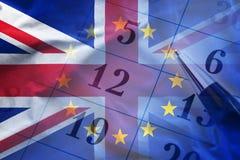 欧盟和英国的旗子 免版税库存图片