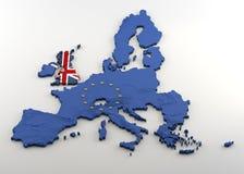 欧盟和英国的被挤压的3D地图 皇族释放例证