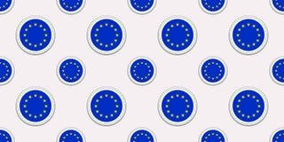 欧盟圆的旗子无缝的样式 欧盟背景 传染媒介圈子象 几何标志 政治的纹理, trav 皇族释放例证