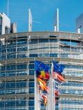 欧盟在半帆柱的旗子飞行在曼彻斯特恐怖分子以后 免版税图库摄影