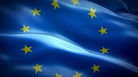 欧盟挥动在风的旗子录影 现实欧元旗子背景 欧洲旗子使成环的特写镜头1080p充分的HD 1920X1080脚 库存例证