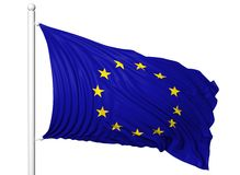 欧盟挥动的旗子在旗杆的 库存图片
