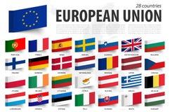 欧盟旗子和成员 稠粘的笔记设计 欧洲地图背景 ?? 皇族释放例证