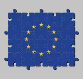 欧盟旗子拼图在十二个五针对性的黄色星圈子的在一个蓝色领域的 向量例证