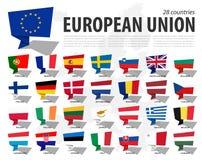 欧盟旗子欧盟和会员资格在欧洲地图背景 讲话泡影设计 ?? 皇族释放例证