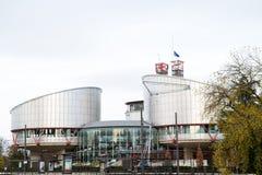 欧盟旗子飞行在下半旗ECHR 免版税库存照片