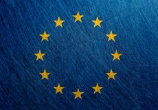 欧盟旗子,葡萄酒,减速火箭,被抓 免版税库存图片