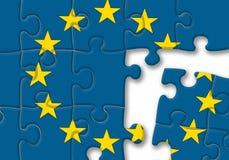 欧盟欧盟下垂在白色背景的难题 库存照片