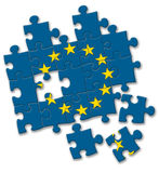 欧盟欧盟下垂在白色背景的难题 库存图片