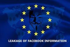 欧盟的旗子与文本的关于信息漏出与Facebook的 免版税库存图片