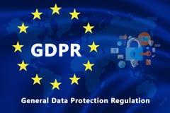 欧盟的旗子与GDPR文本和安全象的 图库摄影