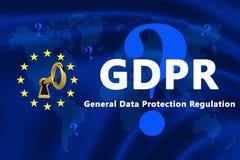 欧盟的旗子与GDPR文本的 免版税库存照片