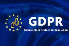 欧盟的旗子与GDPR文本-一般数据保护章程的-横幅 图库摄影