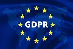 欧盟的旗子与GDPR文本-一般数据保护章程的 免版税库存照片