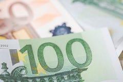 欧盟的钞票细节作为与选择聚焦的背景 库存照片