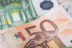 欧盟的钞票细节作为与选择聚焦的背景 免版税库存图片