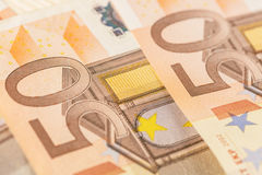 欧盟的钞票细节作为背景 选择聚焦 免版税库存照片