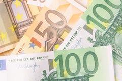 欧盟的钞票细节作为背景 免版税库存照片