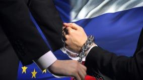 欧盟认可俄罗斯,被束缚的胳膊,政治或者经济冲突 股票录像