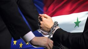 欧盟认可叙利亚,被束缚的胳膊,政治或者经济冲突 股票录像