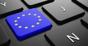 欧盟-在按钮上黑键盘的旗子。 免版税库存照片