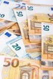 欧盟货币欧洲钞票票据背景 2, 10, 20和50欧元 概念成功富有经济 在空白背景 图库摄影