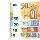欧盟货币欧洲钞票票据背景 2, 10, 20和50欧元 概念成功富有经济 在空白背景 免版税库存图片