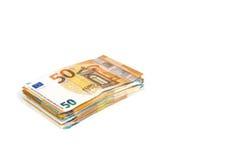 欧盟货币欧洲钞票票据背景 2, 10, 20和50欧元 概念成功富有经济 在空白背景 库存照片