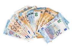 欧盟货币欧洲钞票票据背景 2, 10, 20和50欧元 概念成功富有经济 在空白背景 库存图片