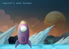 欧罗巴月亮,有太空船的木星卫星 库存例证
